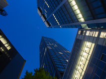 Skyline of business buildings in Frankfurt at night Stock Photography