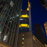 Skyline of business buildings in Frankfurt at night Royalty Free Stock Photography