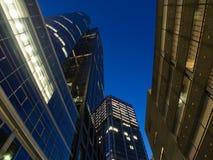 Skyline of business buildings in Frankfurt at night Stock Image