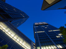 Skyline of business buildings in Frankfurt at night Royalty Free Stock Image