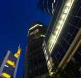 Skyline of business buildings in Frankfurt at night Stock Photo