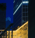 Skyline of business buildings in Frankfurt at night Stock Photo
