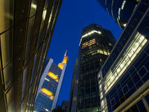 Skyline of business buildings in Frankfurt at night Royalty Free Stock Photo