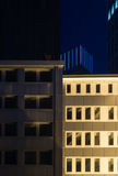 Skyline of business buildings in Frankfurt at night Royalty Free Stock Images
