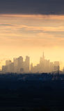 Skyline of business buildings at sunrise in Frankfurt, Germany Royalty Free Stock Photo