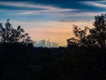 Skyline of business buildings at sunrise in Frankfurt, Germany. Skyline of office buildings at sunrise in Frankfurt, Germany, one of the most fascinating Stock Photography