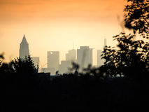 Skyline of business buildings at sunrise in Frankfurt, Germany Stock Photos