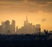 Skyline of business buildings at sunrise in Frankfurt, Germany. Skyline of office buildings at sunrise in Frankfurt, Germany, one of the most fascinating Royalty Free Stock Photography