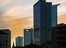 Skyline of business buildings at sunset in Frankfurt, Germany Royalty Free Stock Photos