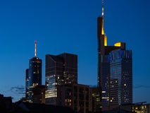 Skyline of business buildings at sunset in Frankfurt, Germany Stock Image