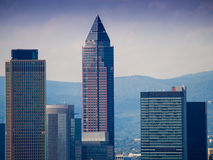 Skyline with business buildings and Trade Fair Tower in Frankfurt Royalty Free Stock Image