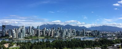 Skyline cênico de Vancôver do centro, BC, Canadá imagens de stock