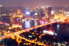 aerial view of egypt cairo night Royalty Free Stock Photos