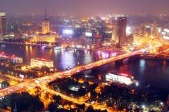 Skyline of egypt cairo night Royalty Free Stock Photos