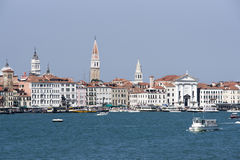 Skyline with Campanile of st. Marco and water traffic in summer Stock Photo