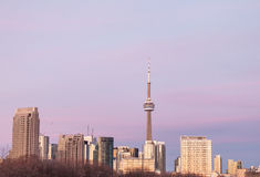 Skyline of the Canadian city of Toronto during the sunset with a Royalty Free Stock Image