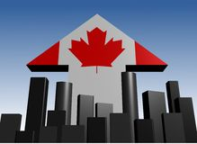 Skyline and Canadian flag arrow vector illustration