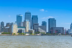 Skyline of Canary Wharf, London, UK. Canary Wharf, famous skyscrapers of London's financial district, viewed from the west. Photograph taken on July 6th, 2013 Stock Photography
