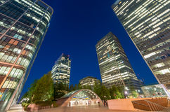 Skyline of Canary Wharf at night, London Stock Images