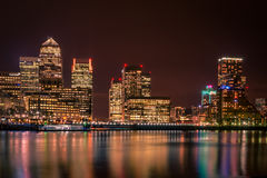 The skyline of Canary Wharf at night in London, England Stock Image