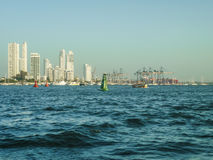 Skyline of Cartagena from Caribbean Sea Stock Image
