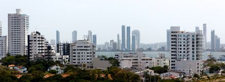 Skyline Cartagena-Karibisches Meer stockbild