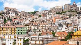 Skyline of Castiglione di Sicilia town in Sicily Royalty Free Stock Photography