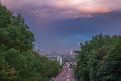 Skyline of central London with storm clouds from Holloway Bridge, UK Royalty Free Stock Photo