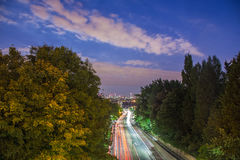 Skyline of central London after sunset from Holloway Bridge, UK Stock Photos