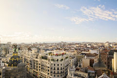Skyline, central Madrid district. The skyline of Madrid (Spain) from de CBA (Circulo de Bellas Artes) during the sunset Stock Photography