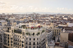 Skyline, central Madrid district. The skyline of Madrid (Spain) from de CBA (Circulo de Bellas Artes) during the sunset Royalty Free Stock Image