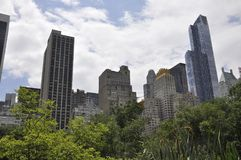 Skyline from Central Park in Midtown Manhattan from New York City in United States Stock Photos