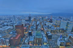 Skyline of the central ward of Sapporo, Hokkaido Royalty Free Stock Images