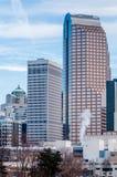 Skyline Charlottes nc umfasst im Schnee Lizenzfreie Stockfotos
