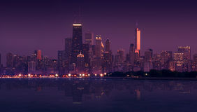 Skyline Chicago. During Sunset - Early Evening. Panoramic Photography. Skyline Lake Mirror Has Been Added Digitally. Windy City and Lake Michigan. Horizontal Stock Images