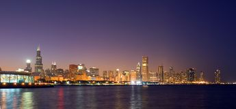 The skyline of Chicago. Chicago's skyline is one of the most stunning skylines in the world.  This one spans from the Shedd Aquarium in the south to the Lake Royalty Free Stock Photography