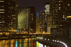 Skyline of Chicago along the river Royalty Free Stock Images