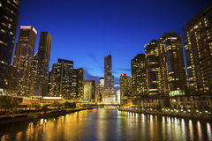 Skyline of Chicago along the river Royalty Free Stock Image