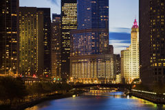 Skyline of Chicago along the river Stock Photography