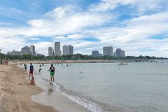 Skyline of Chicago, Illinois from North Avenue Beach on Lake Mic. Higan Royalty Free Stock Photo