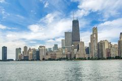 Skyline of Chicago, Illinois from North Avenue Beach on Lake Mic. Higan Stock Photo