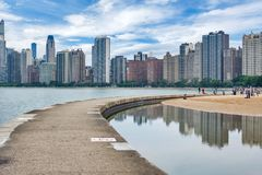 Skyline of Chicago, Illinois from North Avenue Beach on Lake Mic. Higan Stock Photography