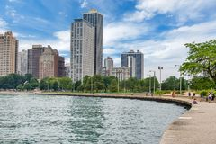 Skyline of Chicago, Illinois from North Avenue Beach on Lake Mic. Higan Royalty Free Stock Image