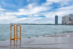 Skyline of Chicago, Illinois from North Avenue Beach on Lake Mic. Higan Stock Images