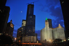Skyline, Chicago and Moon. A view of the trump tower in chicago from the river Royalty Free Stock Photos