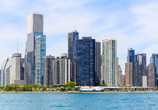 Skyline of Chicago. Chicago, USA - May 24, 2014: Part of Chicago skyline with Peanut Park seen from Lake Michigan Stock Images