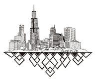 Skyline Chicagos, IL Stockbilder