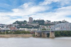Skyline of Cincinnati, Ohio from General James Taylor park in N. Ew Port Kentucky over the Ohio River stock image