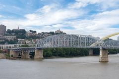 Skyline of Cincinnati, Ohio from General James Taylor park in N. Ew Port Kentucky over the Ohio River royalty free stock image