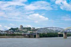 Skyline of Cincinnati, Ohio from General James Taylor park in N. Ew Port Kentucky over the Ohio River stock images